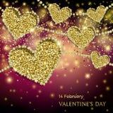 Insegna festiva della scintilla di giorno di biglietti di S. Valentino Immagine Stock