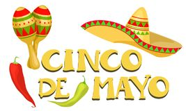 Insegna festiva di Cinco de Mayo Mexican royalty illustrazione gratis