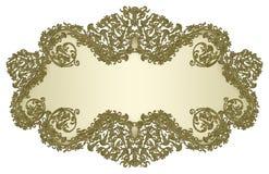 Insegna floreale 2 del damasco dorato Fotografie Stock