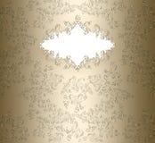 Insegna floreale del damasco dorato Immagini Stock