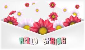 Insegna floreale di vendita della primavera illustrazione di stock