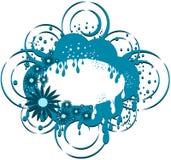 Insegna floreale naturale isolata nei toni blu Immagine Stock Libera da Diritti