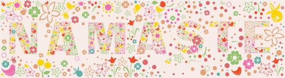 Insegna floreale ornamentale di NAMASTE illustrazione di stock