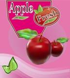 Insegna fresca del succo di mele Fotografia Stock