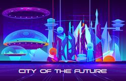 Insegna futura di vettore di architettura della metropoli illustrazione di stock