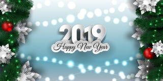 Insegna 2019, ghirlanda scintillante del nuovo anno e di Natale delle luci di natale con l'albero di Natale fotografie stock libere da diritti