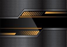 Insegna gialla nera astratta di tecnologia sul vettore futuristico moderno del fondo del metallo del cerchio di progettazione gri illustrazione di stock