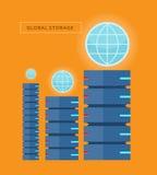 Insegna globale di web di stoccaggio nello stile piano Fotografie Stock Libere da Diritti