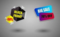 Insegna grandi vendita e venerdì del nero Fotografie Stock Libere da Diritti
