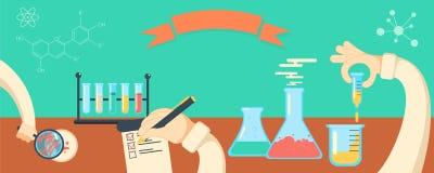 Insegna horisontal di vettore di ricerca in chimica Fotografia Stock Libera da Diritti