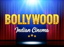 Insegna indiana del film del cinema di Bollywood Cinema indiano Logo Sign Design Glowing Element con la fase e le tende royalty illustrazione gratis