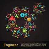 Insegna infographic t di forma dell'ingranaggio di ingegneria meccanica e civile illustrazione vettoriale