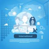 Insegna internazionale di web di Media Communication del sociale con lo spazio della copia su fondo blu Immagine Stock