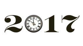 insegna 2017 isolata, facendo uso dell'orologio per zero Immagine Stock Libera da Diritti