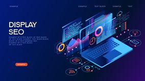 Insegna isometrica di concetto della gestione di tecnologia di affari illustrazione di stock