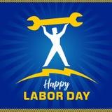 Insegna, lavoratore e chiave felici di festa del lavoro Immagine Stock Libera da Diritti