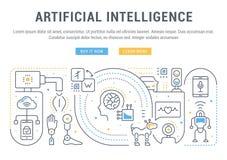 Insegna lineare di intelligenza artificiale Immagini Stock