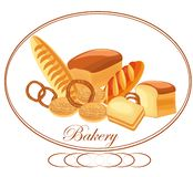 Insegna, logo per il forno Composizione dai prodotti della panificazione fotografia stock libera da diritti
