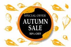 Insegna luminosa per la vendita di autunno con le foglie di autunno su fondo geometrico Fotografia Stock Libera da Diritti