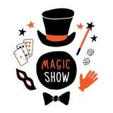 Insegna magica di manifestazione Cilindro del mago, maschera, carte, guanto, bacchetta magica, prestazione dell'illusionista Illu illustrazione vettoriale
