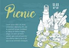 Insegna, manifesto, annuncio di picnic o modello orizzontale dell'invito con il canestro tradizionale per la mano pranzante all'a illustrazione vettoriale