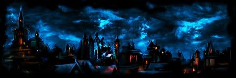 Insegna medievale della città di notte illustrazione vettoriale