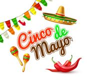 Insegna messicana del manifesto del partito del de Mayo di cinco di vettore