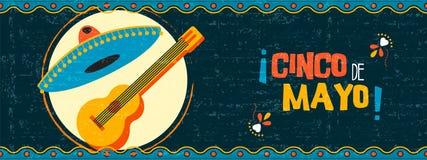 Insegna messicana felice di web dei mariachi del de Mayo di cinco royalty illustrazione gratis