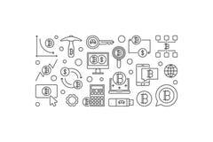Insegna minima di Bitcoin Concetto cripto IL di estrazione mineraria di valuta di vettore Fotografie Stock Libere da Diritti