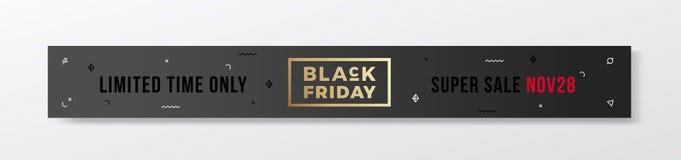 Insegna minima o intestazione di stile svizzero di Black Friday Concetto moderno di tipografia dell'oro Con gli elementi decorati Immagine Stock Libera da Diritti