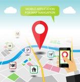 Insegna mobile di applicazione della mappa di navigazione Immagine Stock
