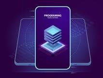Insegna mobile di sviluppo e di programmazione dell'applicazione mobile, dell'icona della stanza del server, della base di dati e illustrazione vettoriale