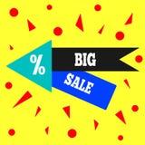 Insegna moderna del quadrato, autoadesivo, manifesto, buono, etichetta Grande modello di vendita Illustrazione di vettore illustrazione di stock