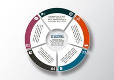 Insegna moderna di opzioni di affari, infographics del cerchio, opzione 5 Fotografie Stock Libere da Diritti