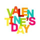 Insegna multicolore di San Valentino. Testo luminoso Immagini Stock