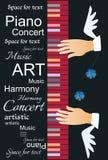 Insegna musicale verticale con testo astratto, la tastiera di piano multicolore e le mani alate del musicista illustrazione di stock