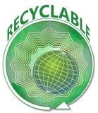 Insegna nel verde con il globo su forma verde con la freccia rotonda, simbolo della stella per il prodotto riciclabile Fotografie Stock Libere da Diritti