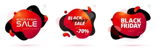 Insegna nera di sconto di vendita di venerdì con forma organica di flusso Illustrazione di vettore royalty illustrazione gratis