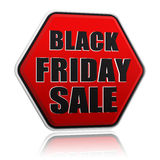 Insegna nera rossa di esagono di vendita nera di venerdì Fotografia Stock Libera da Diritti