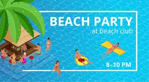 Insegna o aletta di filatoio per il partito della spiaggia di estate Aloha Summer Illustrazione di vettore Invito al night-club I Illustrazione di Stock