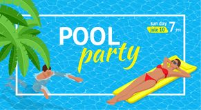 Insegna o aletta di filatoio per il partito della spiaggia di estate Aloha Summer Illustrazione di vettore Invito al night-club I Illustrazione Vettoriale