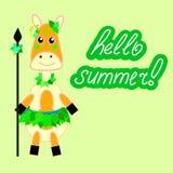 Insegna o carta per il partito di estate dell'immagine tropicale di vettore delle foglie illustrazione di stock