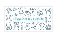 Insegna o illustrazione di vettore della clonazione umana nello stile del profilo illustrazione vettoriale