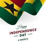 Insegna o manifesto della celebrazione di festa dell'indipendenza del Ghana Bandierina d'ondeggiamento Illustrazione di vettore illustrazione vettoriale