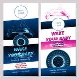 Insegna o opuscolo per la società di automobili di sintonia Fotografia Stock