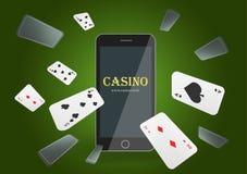 Insegna online del casinò del poker dell'illustrazione di vettore con un telefono cellulare e le carte da gioco Posta di lusso co illustrazione di stock