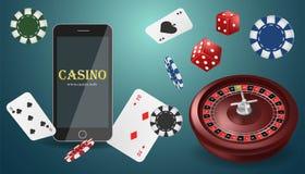 Insegna online del casinò del poker dell'illustrazione di vettore con un telefono cellulare, i chip, le carte da gioco, le roulet illustrazione vettoriale