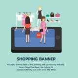 Insegna online di acquisto La gente che compera nel supermercato e nei prodotti d'acquisto di modo Fotografia Stock Libera da Diritti