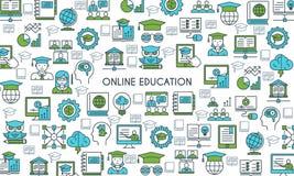 Insegna online di istruzione illustrazione di stock