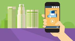 Insegna online di istruzione di Elearning di applicazione dello Smart Phone delle cellule della tenuta della mano illustrazione vettoriale